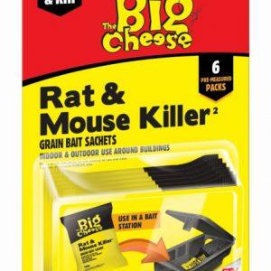 THE BIG CHEESE RAT & MOUSE KILLER GRAIN BAIT SACHETS 6x 25g