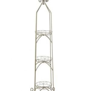 SCROLL TOP 3-TIER PLANT STAND, ANTIQUE WILLOW