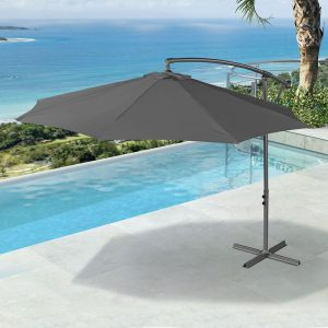 3m ROUND CANTILEVER PARASOL- GREY