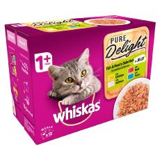 WHISKAS 1+ CAT POUCHES PURE DELIGHT FISHY&MEATY SELECTION 12x85g