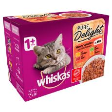 WHISKAS 1+ CAT POUCHES PURE DELIGHT MEATY SEL IN JELLY12x85g