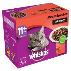 WHISKAS 11+ CAT POUCHES MEATY SELECTION IN GRAVY 12x100g