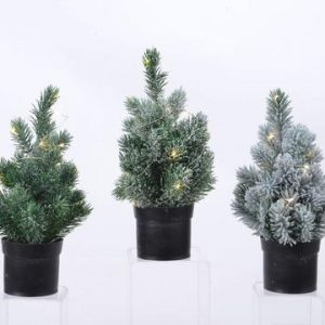 PRE-LIT PLASTIC TREE IN POT – GREEN 28cm
