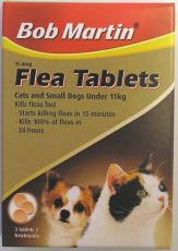BOB MARTIN FLEA TABLETS CATS SMALL DOGS & PUPPIES 3 TABLETS