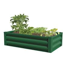 METAL RAISED GARDEN PLANTER WITH LINER, FOREST GREEN