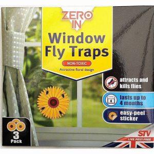 ZERO IN WINDOW FLY TRAPS SUNFLOWER STICKERS 3PK