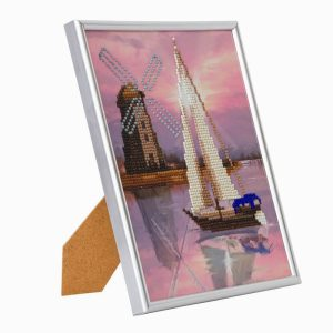 BOAT WINDMILL, 21x25cm PICTURE FRAME CRYSTAL ART