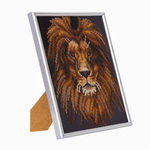 LION, 21x25cm PICTURE FRAME CRYSTAL ART