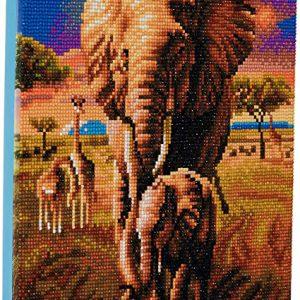 ELEPHANT OF THE SAVANNAH, 30x30cm CRYSTAL ART KIT
