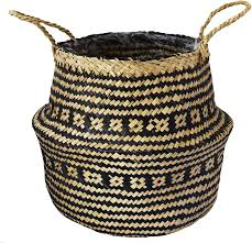 SEAGRASS TRIBAL BLACK LINED BASKET D30xH25cm