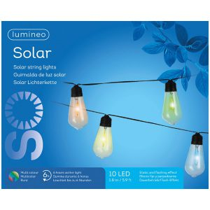 10 SOLAR STRING LIGHTS PLASTIC FLASHING EFFECT – MULTICOLOURED